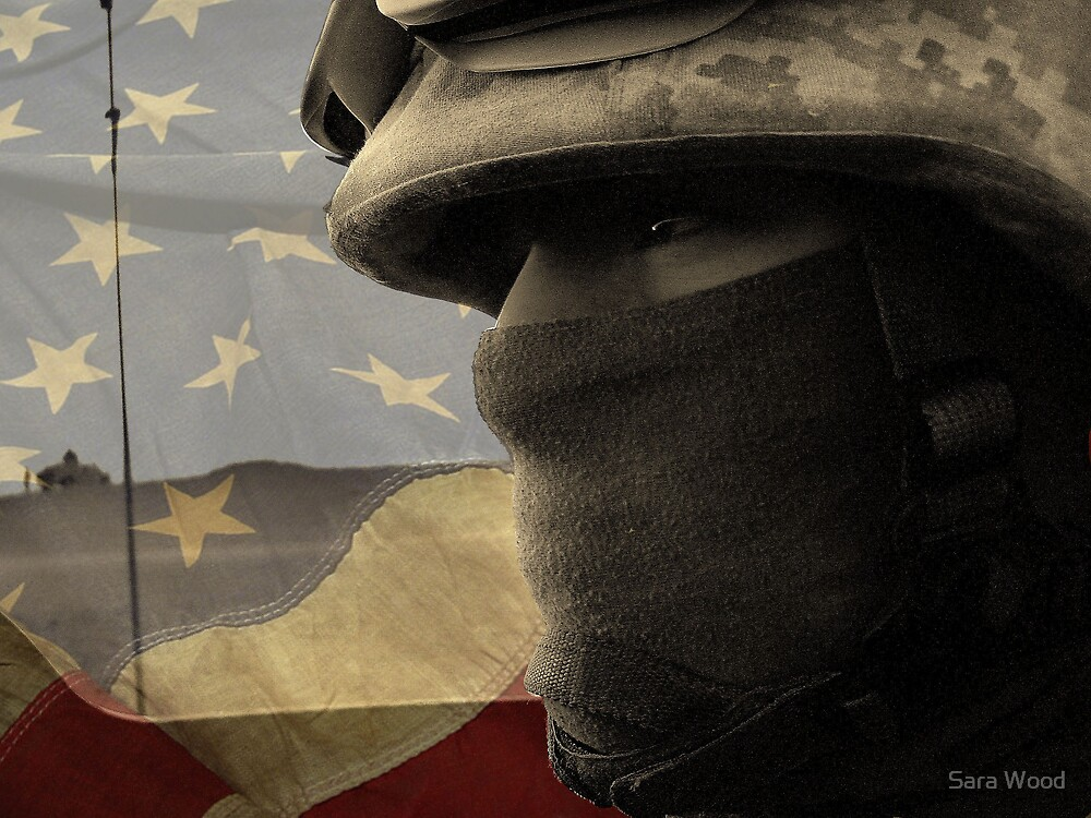 Face of War (American Flag) by Sara Wood
