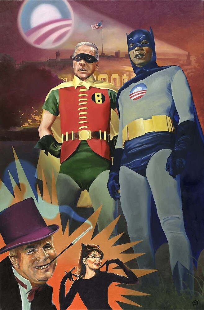 BATMOBAMA AND ROBIDEN, oil painting by Paul Richmond by Paul Richmond