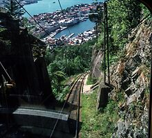 Coming down on funicular from on plateau above Bergen Norway 198406110032 by Fred Mitchell