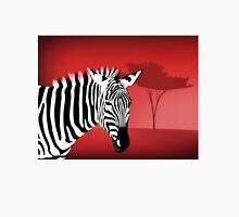 Zebra With a Dramatic Red Background Unisex T-Shirt