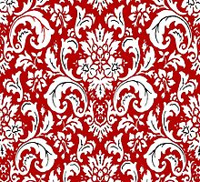 Red and White Paisley Vintage Pattern by Saundra Myles