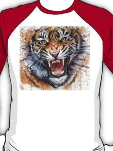 Tiger Watercolor Painting, Wild Animal Illustration, Big Cat Art T-Shirt