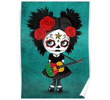 Sugar Skull Girl Playing Cameroon Flag Guitar Poster