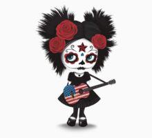Sugar Skull Girl Playing American Flag Guitar Kids Tee