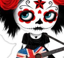 Sugar Skull Girl Playing Union Jack British Flag Guitar Sticker