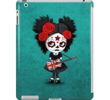 Sugar Skull Girl Playing Union Jack British Flag Guitar iPad Case/Skin
