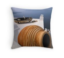 Santorini Rooftops Throw Pillow
