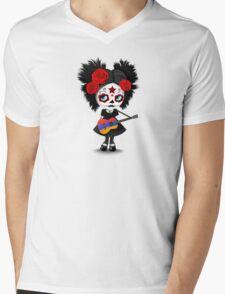 Sugar Skull Girl Playing Armenian Flag Guitar Mens V-Neck T-Shirt