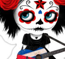 Sugar Skull Girl Playing Cuban Flag Guitar Sticker