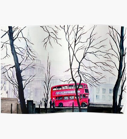 St Paul`s Cathedral in the London fog Poster