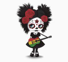 Sugar Skull Girl Playing Bolivian Flag Guitar Baby Tee