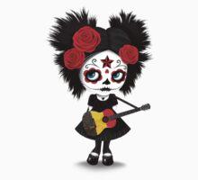 Sugar Skull Girl Playing Belgian Flag Guitar Kids Tee