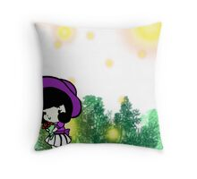 Picking Flowers with the Fireflies Throw Pillow