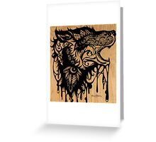 Oil Lace Wolf Greeting Card