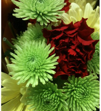 Red and Green Flower Bouquet Sticker