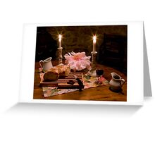 Bread, Wine, and Peony Greeting Card