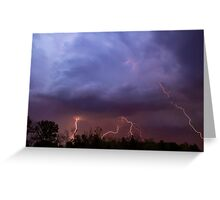 Multiple Lightning Strikes form Colorful Thunderstorm Clouds Greeting Card