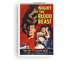 Night Of The Blood Beast Retro Horror Design Canvas Print