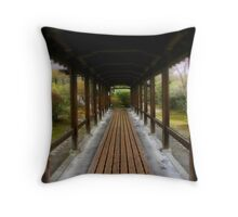 Follow the wood-boarded road Throw Pillow