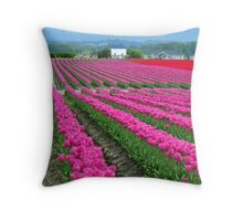 Pink Rows Throw Pillow