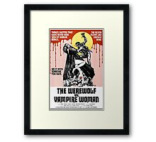 Werewolf vs Vampire Woman Retro Horror Design Framed Print
