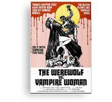 Werewolf vs Vampire Woman Retro Horror Design Canvas Print