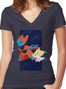 Pokemon - Jirachi and Deoxys Women's Fitted V-Neck T-Shirt