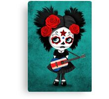 Sugar Skull Girl Playing Costa Rican Flag Guitar Canvas Print