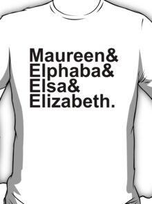 Idina Menzel Character List (Black Text) T-Shirt