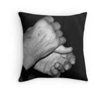 old woman's hands Throw Pillow