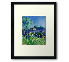 Lavender Field With Yellow Flowers painting Framed Print