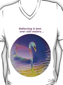 Pink swan floating on still waters... T-Shirt