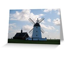 Lytham landmarks,lifeboat house and windmill Greeting Card