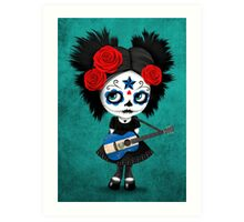 Sugar Skull Girl Playing El Salvador Flag Guitar Art Print