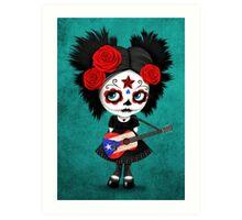 Sugar Skull Girl Playing Puerto Rican Flag Guitar Art Print