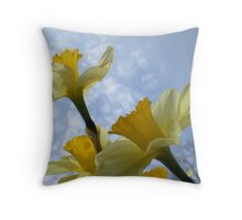 Daffodils & Sky Throw Pillow