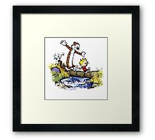 Calvin And Hobbes Funny Custom Artwork Framed Print