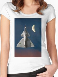 SAAB Viggen and the Moon Women's Fitted Scoop T-Shirt