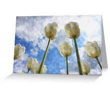 White tulips on cloudy sky watercolor Greeting Card