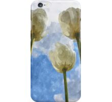White tulips and cloudy sky digital watercolor iPhone Case/Skin