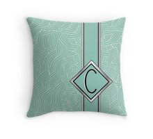 1920s Blue Deco Swing with Monogram letter C Throw Pillow