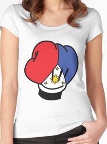 MP Mickey Pacquiao Filipino Flag Boxing Glove by AiReal Apparel Women's Fitted Scoop T-Shirt