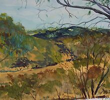 View from Horan's Track (watercolour) in the Murchison Gap Victoria Australia by Margaret Morgan (Watkins)