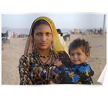 Gypsy woman with Child at Camel Fair Poster