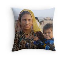 Gypsy woman with Child at Camel Fair Throw Pillow