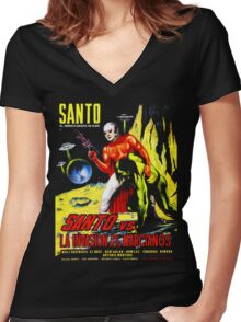 Santo vs. The Invasion of the Martians! '67 Women's Fitted V-Neck T-Shirt