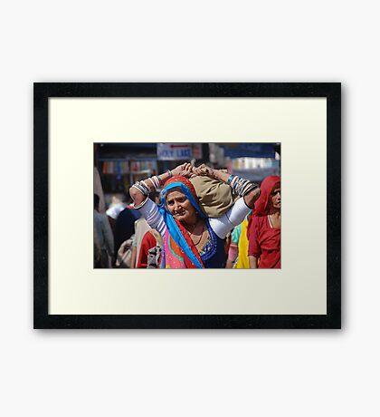 Old Woman at Camel Fair Pushkar Framed Print