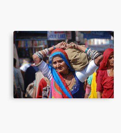 Old Woman at Camel Fair Pushkar Canvas Print