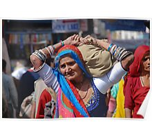 Old Woman at Camel Fair Pushkar Poster