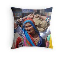 Old Woman at Camel Fair Pushkar Throw Pillow